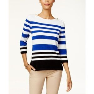 Karen Scott Colorblocked Zip Shoulder Sweater
